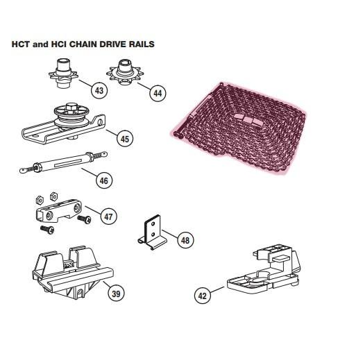 Linear Garage Door Opener Railing 12 Ft Chain Assembly Hae00046