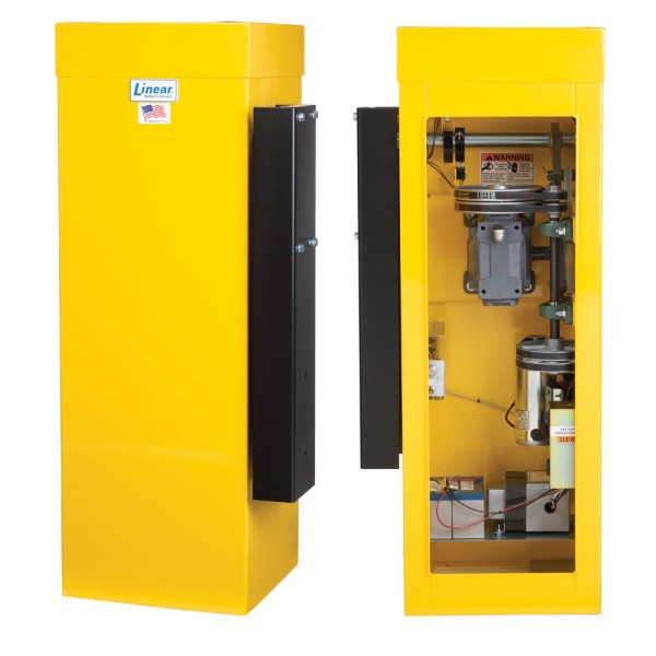 Linear BGUS-D-16-211 1/2 HP Barrier Gate Operator with DC Battery and 16 ft Arm - Yellow