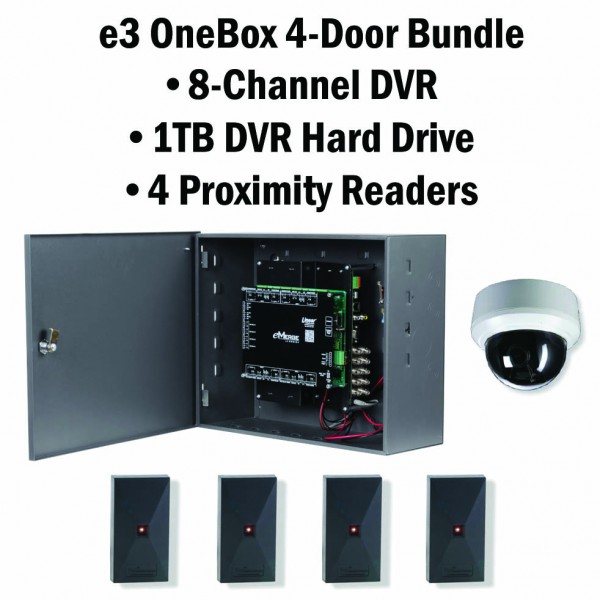 e3 OneBox, 4 Door Access & Reader, 8 Channel DVR 1 TB HD - 620-100339