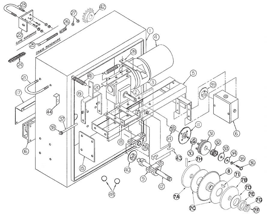 GSLG-A Gate Operator Parts Diagram