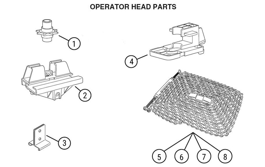 HCI Garage Door Opener Rail Replacement Parts Diagram