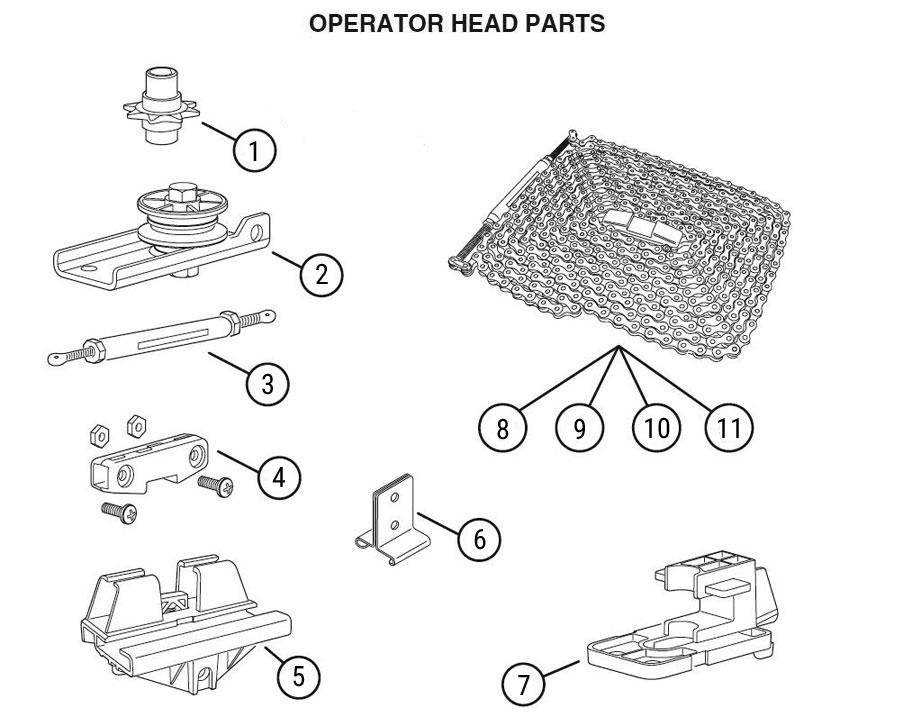 HCT Garage Door Opener Rail Replacement Parts Diagram
