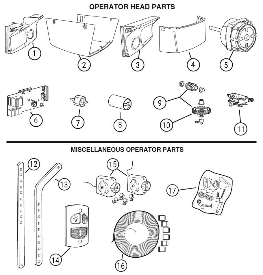 LCO Garage Door Opener Parts Diagram