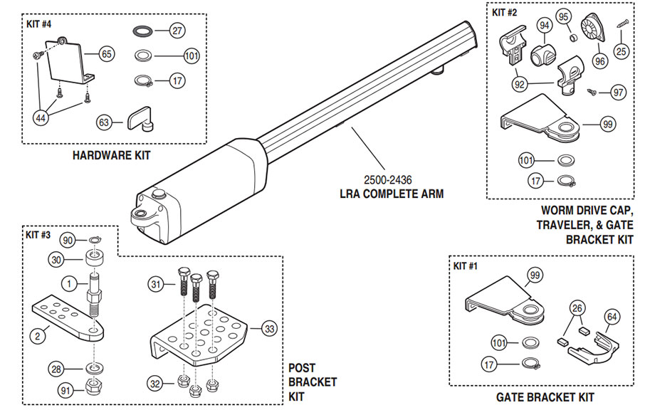 LRA Gate Operator Parts Diagram